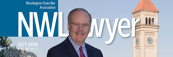 Cover of October 2015 NWLawyer featuring WSBA President Bill Hyslop