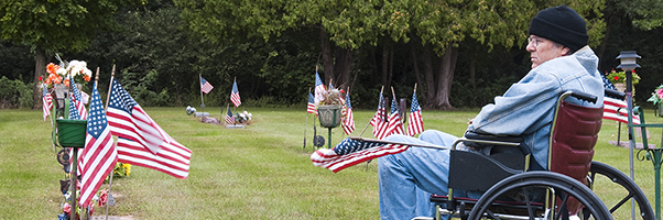 Veteran in a wheelchair at cemetery with U.S. flags