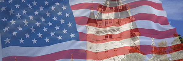 American flag and Spokane Courthouse