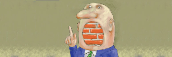 Cartoon of man with mouth full of bricks