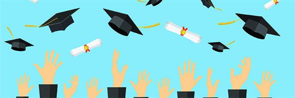 Illustration of graduates tossing caps into air.
