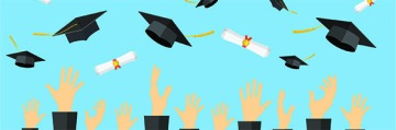 Illustration of graduates tossing caps into air.